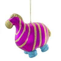 4'' Glittered plastic hippo ornament