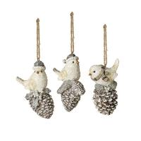 Bird on Pine Cone Ornament, 4'', Unit Price