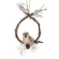 Fabric and fur glittered bird on perch ornament 8''