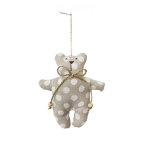 White polkadots teddy bear ornament 5''