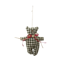 Green checked teddy bear ornament 5,5''