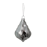 silver flat glass ornament, 4''
