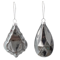 charcoal flat glass ornament, 4''