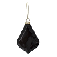 black flat glass ornament, 4''