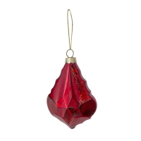 red flat glass ornament, 4''