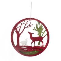 Red Cutout deer scene ornament,4,75''