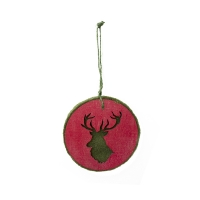 Ornement silhouette cerf rouge
