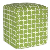 Green exterior ottoman with white round patterns 16x16x19''