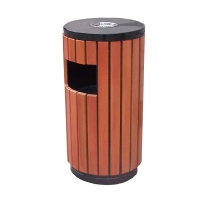 Brown commercial trash receptacle 16 x 16 x 30''