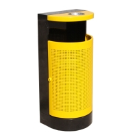 Yellow and black steel bin, 16 x 12 x 33''
