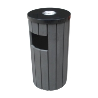 Grey commercial trash receptacle 16 x 16 x 30''