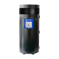 Blue Steel Outdoor Waste Bin