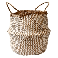 White Chevron Patterned Belly Basket