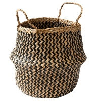 Black Chevron Patterned Belly Basket