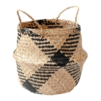 Black Plaid Belly Basket