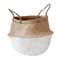 White Color Block Belly Basket