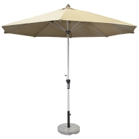9' Beige aluminium umbrella with a marble base