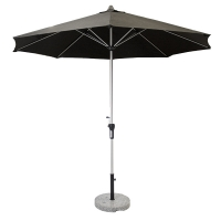 9' Black aluminium umbrella with a marble base