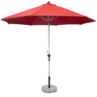 9' Red aluminium umbrella with a marble base