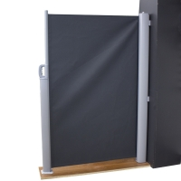 Paravent intimité en toile rétractable noire, 5x10'