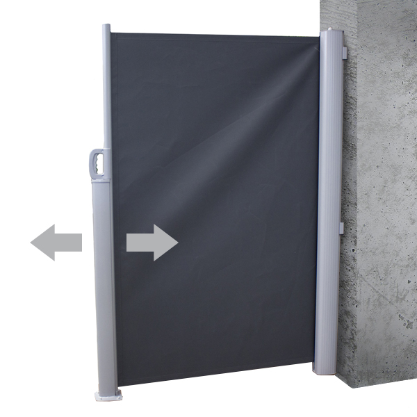 Black retractable canvas privacy screen 5x10 39 veronneau - Toile d ombrage leroy merlin ...