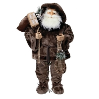 36'' Fur lodge santa with snow shoes