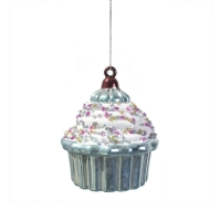 3,5'' Glittered beaded plastic cupcake ornement
