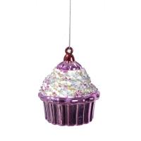 3,5'' Glittered beaded plastic cupcake ornement