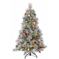 4,5' Flocked hard needle pine with pine cones and ornaments,