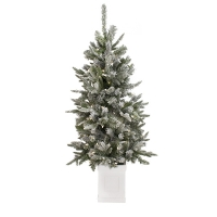4,5' Lighted entrance flocked pine tree in white pot