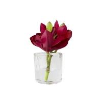 Petit vase d'orchidée rouge 7''