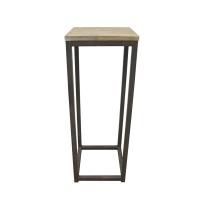 table d'appoint, métal et bois,  10 x 10 x 29''