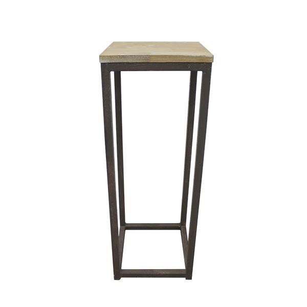 Table d 39 appoint m tal et bois 10 x 10 x 29 39 39 plantes et d cor - Table d appoint bois et metal ...