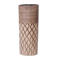Petite urne en céramique de couleur brun et ivoire 45x12''