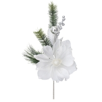 White magnolia spray with fir branches