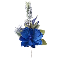 Royal blue magnolia spray with fir branches