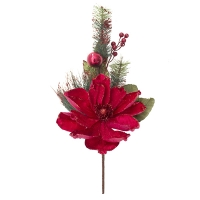 Red magnolia spray with fir branches