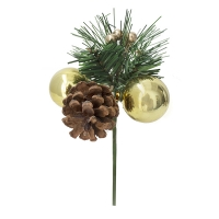 Gold pine cone and ball pick