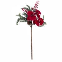 Pic d'orchidée rouge glacée avec pin et baies 16''