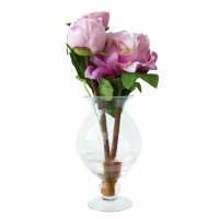 Pivoines roses dans vase de vitre 12''