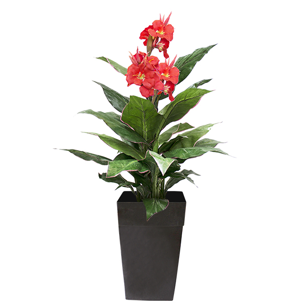 Artificial plant 4 39 canna with yellow flowers veronneau for Plants de fleurs