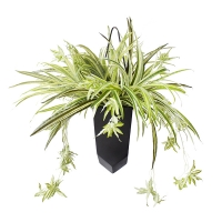 Artificial spider plant in hanging planter