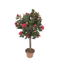 Plante artificielle, hibiscus à fleurs rouges 4'