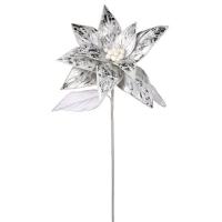 Poinsettia argent métallique sur tige 27''