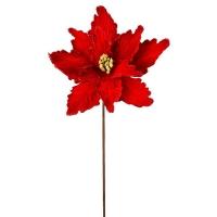 Red super velvet poinsettia stem, 24''