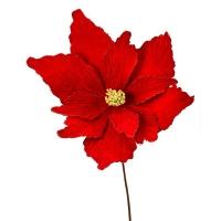 Poinsettia en velour rouge 36''