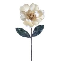Poinsettia ivoire en velour sur tige 24''