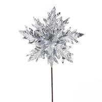 Poinsettia métallique argent sur tige 15''