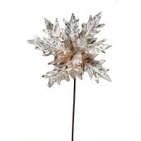 Poinsettia métallique champagne sur tige 15''