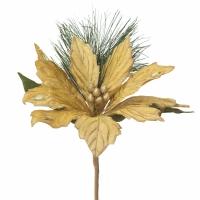 Gold poinsettia pine pick 15,5''